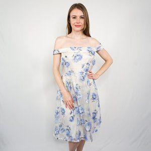 BOOHOO Bardot Sheer Floral Overlay Midi Dress